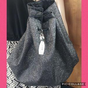 Victoria's Secret NWT Black Glitter Drawstring Bag